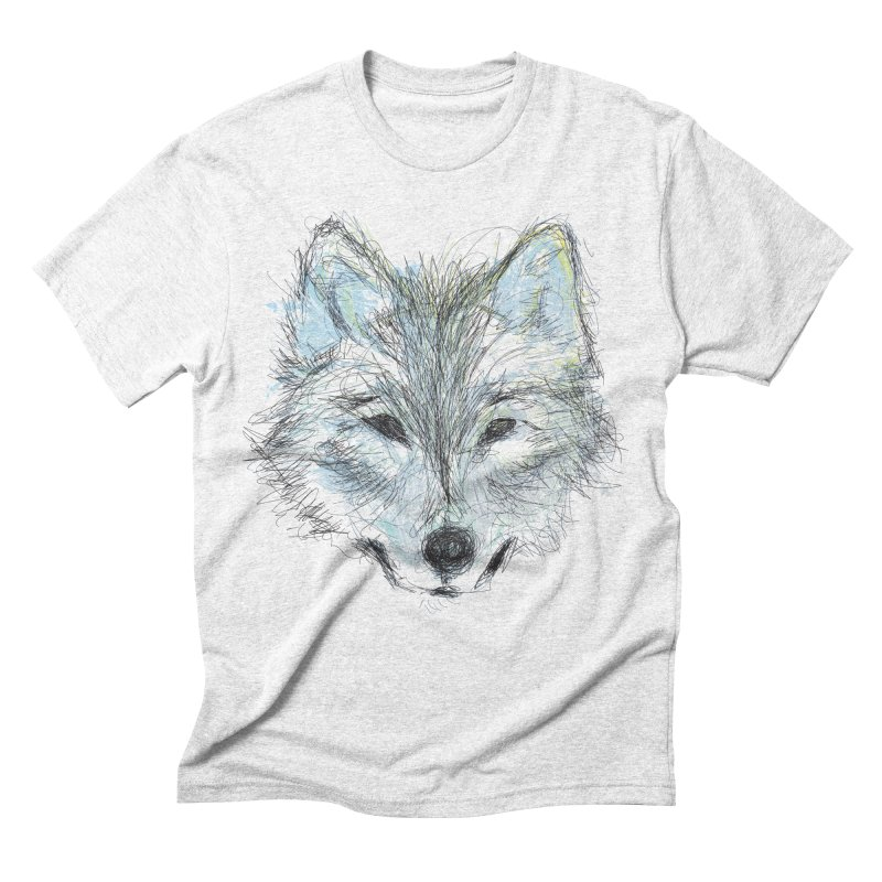 White Wolf in Men's Triblend T-shirt Heather White by pacografico's Artist Shop