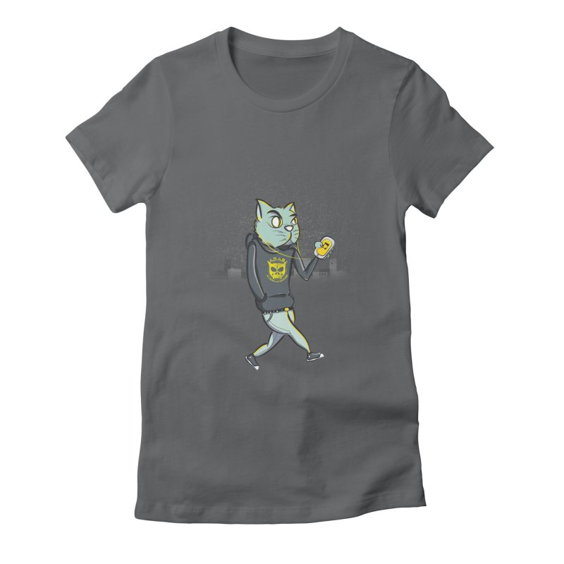 Night Cat Women's Fitted T-Shirt by pacografico's Artist Shop