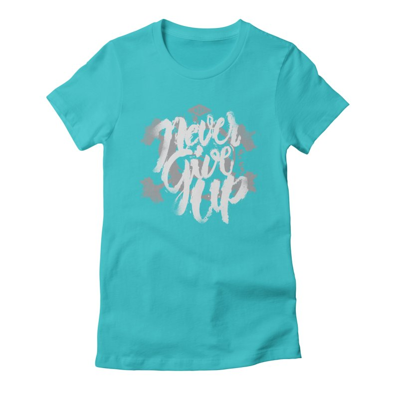 Skull Never Give Up Women's Fitted T-Shirt by pacografico's Artist Shop