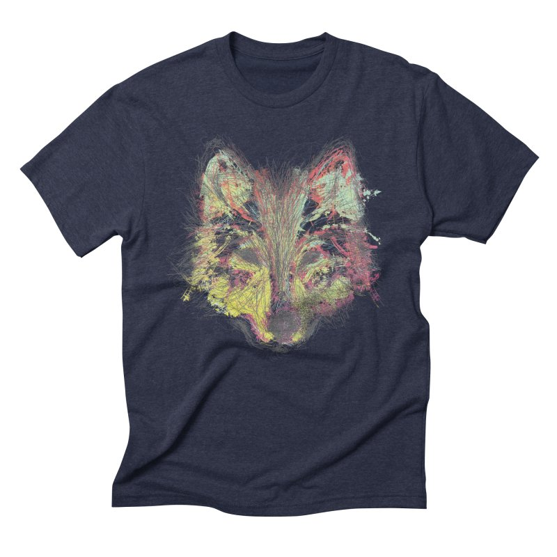 Wolf in Colors in Men's Triblend T-Shirt Navy by pacografico's Artist Shop