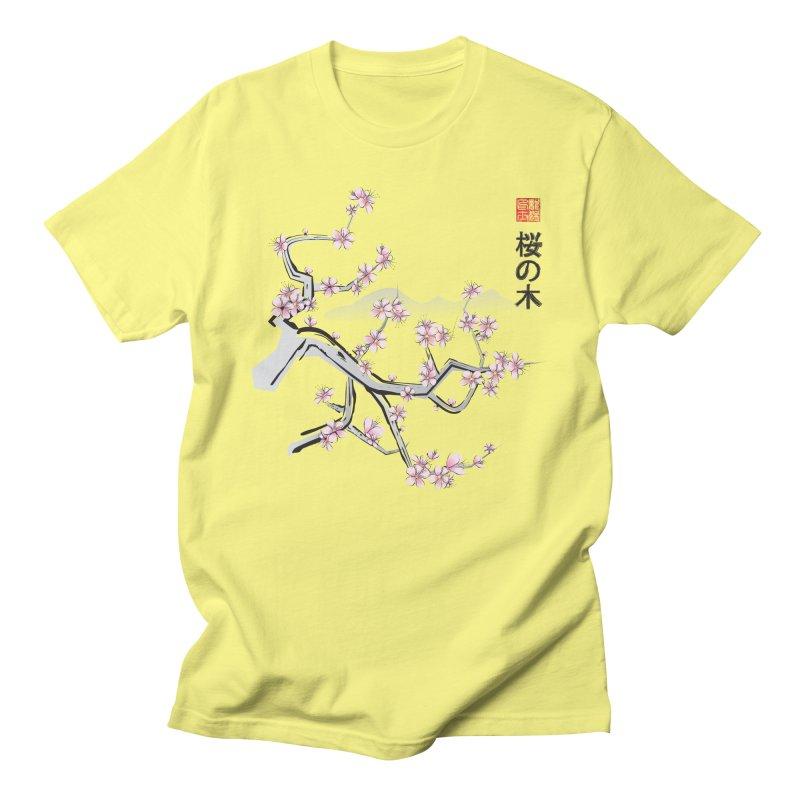 Cherry Sumi Sky Men's T-shirt by pacografico's Artist Shop