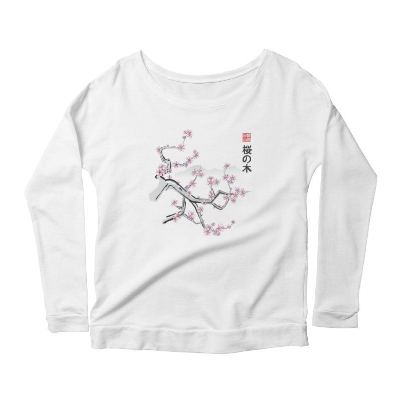 Cherry Sumi Sky Women's Longsleeve Scoopneck  by pacografico's Artist Shop