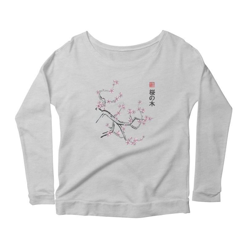 Cherry Sumi Sky Women's Longsleeve Scoopneck  by pacografico's Artist Shop