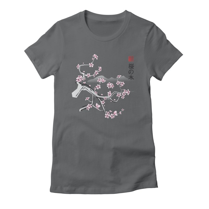 Cherry Sumi Sky Women's Fitted T-Shirt by pacografico's Artist Shop