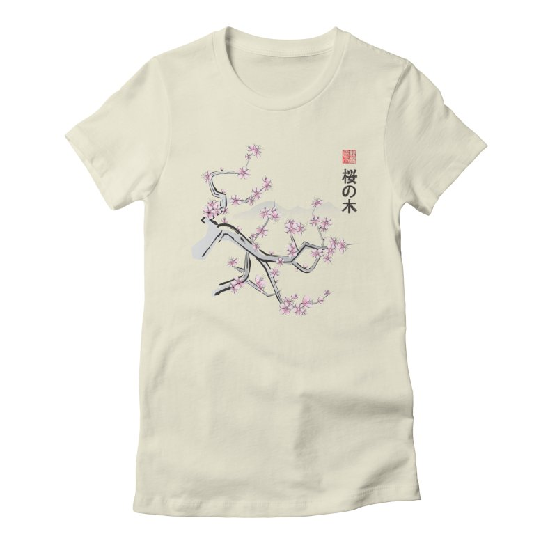 Cherry Sumi Sky in Women's Fitted T-Shirt Natural by pacografico's Artist Shop