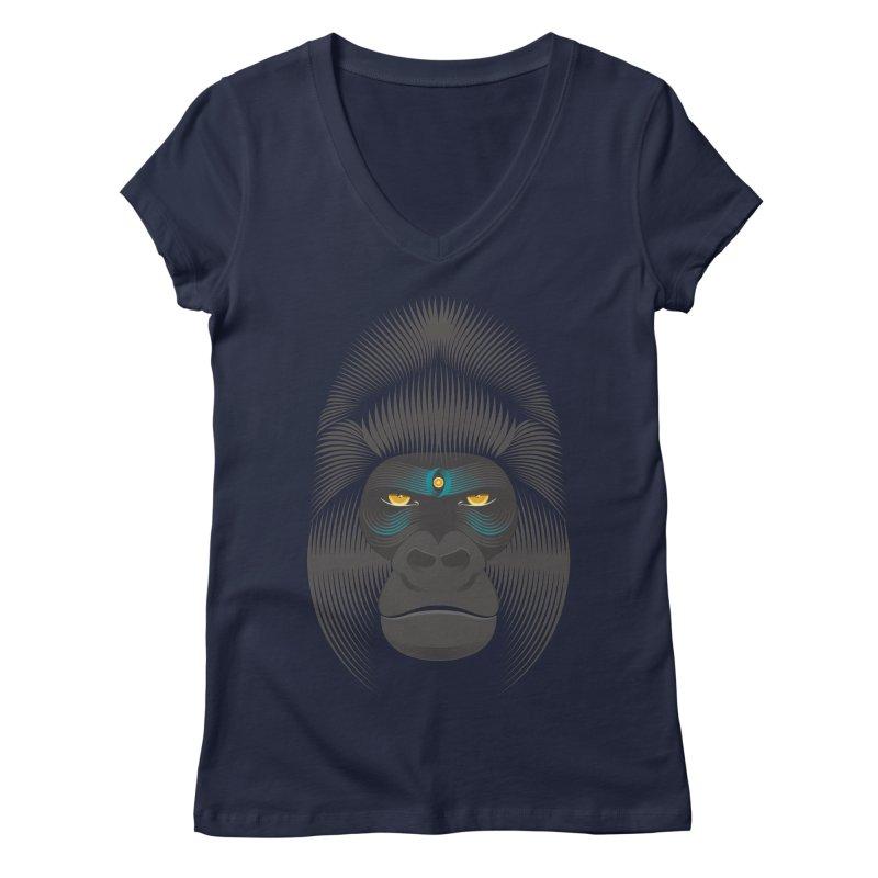 Gorilla soul - dark colours clothes Women's V-Neck by PAgata's Artist Shop