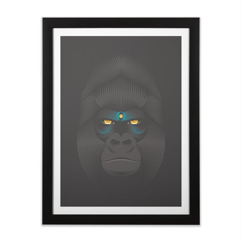 Gorilla soul - dark colours clothes Home Framed Fine Art Print by PAgata's Artist Shop