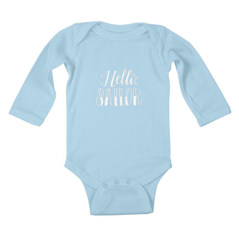 Hello Sailor Kids Baby Longsleeve Bodysuit by paigefirnbergdesign's Artist Shop