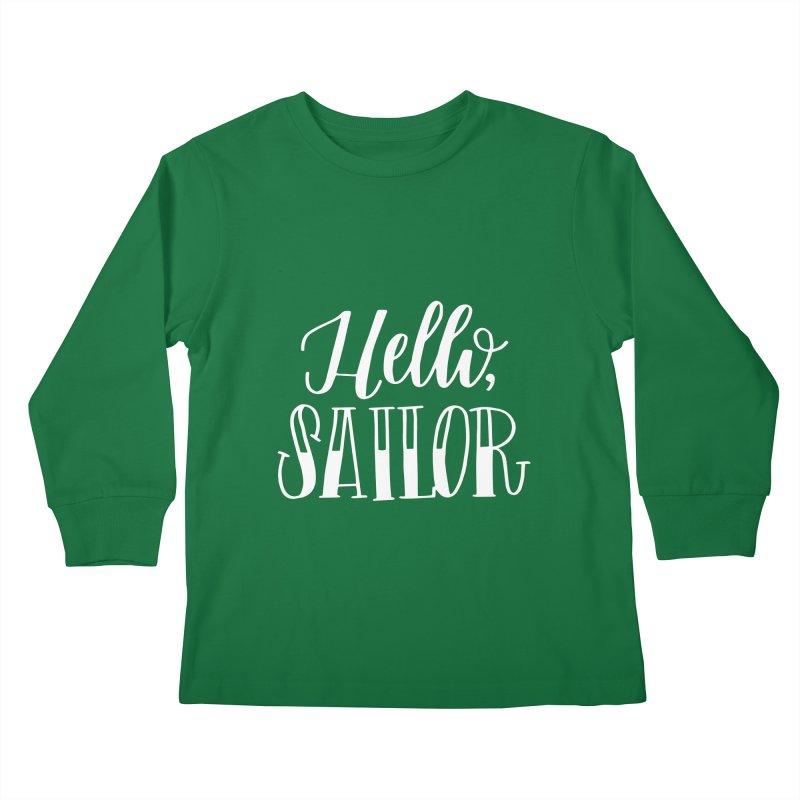 Hello Sailor Kids Longsleeve T-Shirt by paigefirnbergdesign's Artist Shop