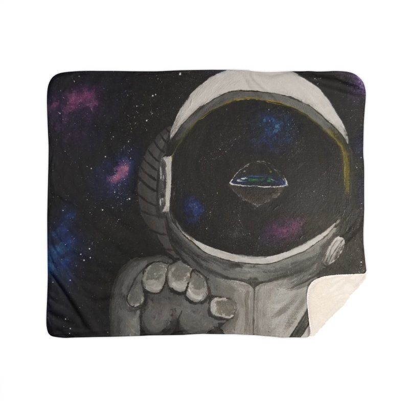 Floating Away From Flat Earth Home Sherpa Blanket Blanket by paintbytiger's Artist Shop