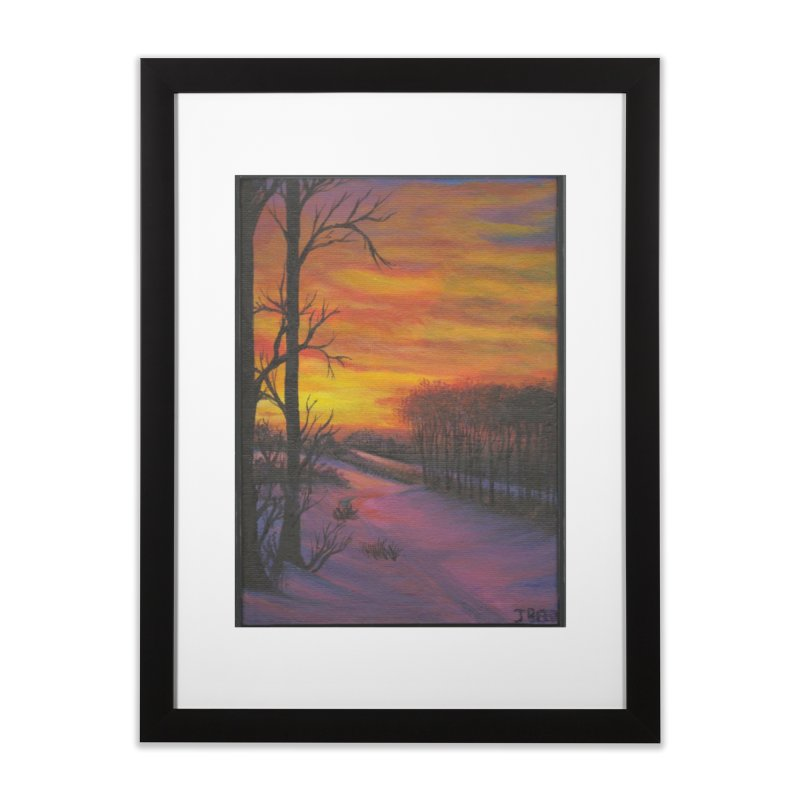 Winter Sunset Home Framed Fine Art Print by paintbytiger's Artist Shop
