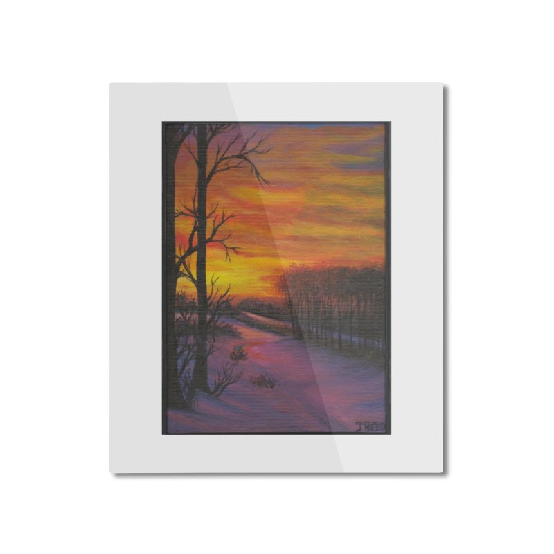 Winter Sunset Home Mounted Aluminum Print by paintbytiger's Artist Shop