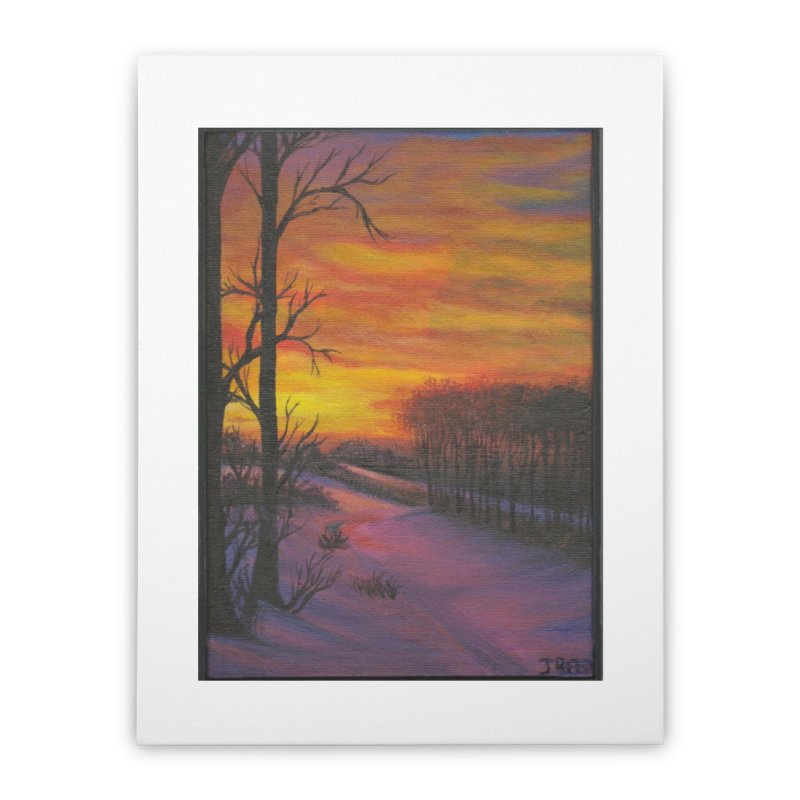 Winter Sunset Home Stretched Canvas by paintbytiger's Artist Shop