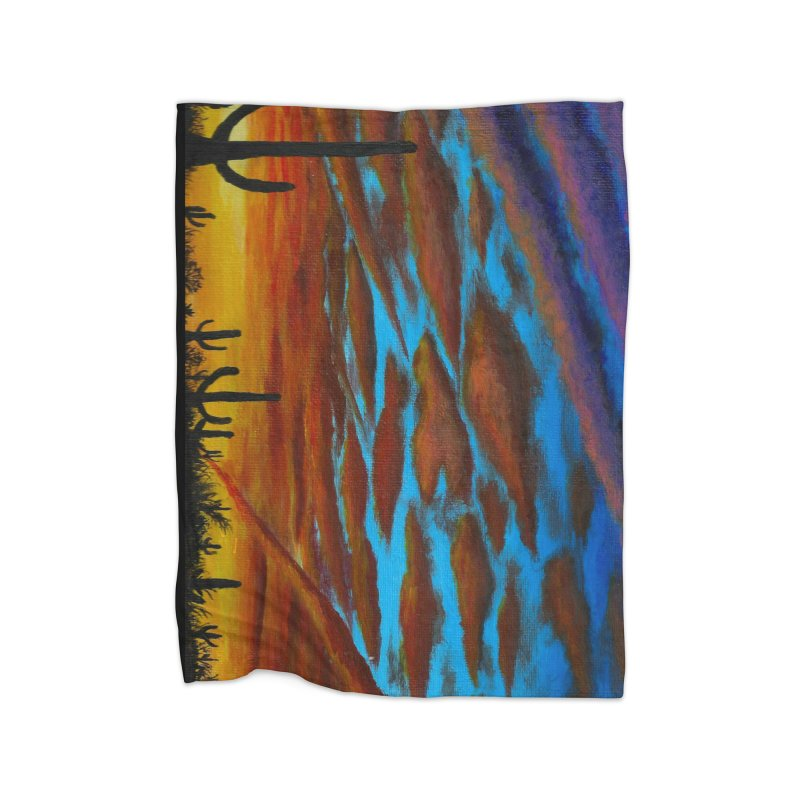 Desert Chemtrails Home Fleece Blanket Blanket by paintbytiger's Artist Shop