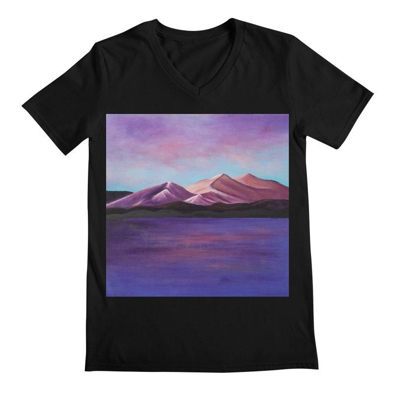 Purple Mountains Men's Regular V-Neck by paintbytiger's Artist Shop
