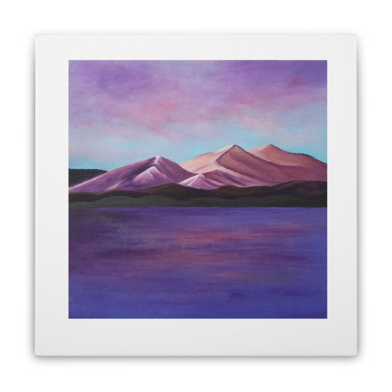 Purple Mountains Home Stretched Canvas by paintbytiger's Artist Shop