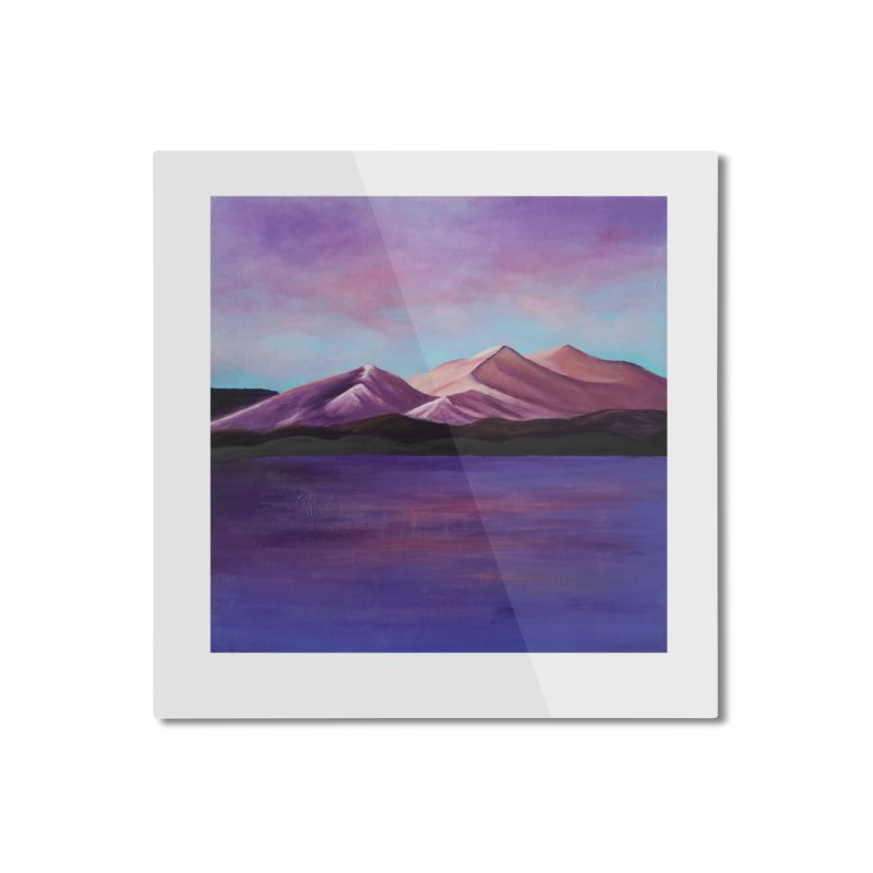 Purple Mountains Home Mounted Aluminum Print by paintbytiger's Artist Shop