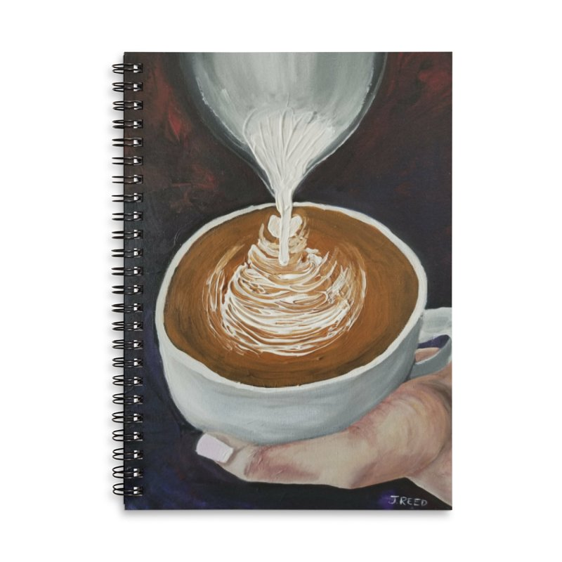 Latte Pour Accessories Lined Spiral Notebook by paintbytiger's Artist Shop