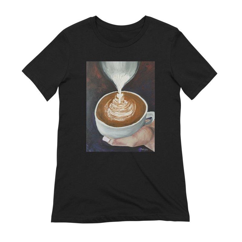 Latte Pour Women's Extra Soft T-Shirt by paintbytiger's Artist Shop