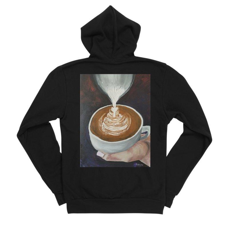 Latte Pour Men's Sponge Fleece Zip-Up Hoody by paintbytiger's Artist Shop