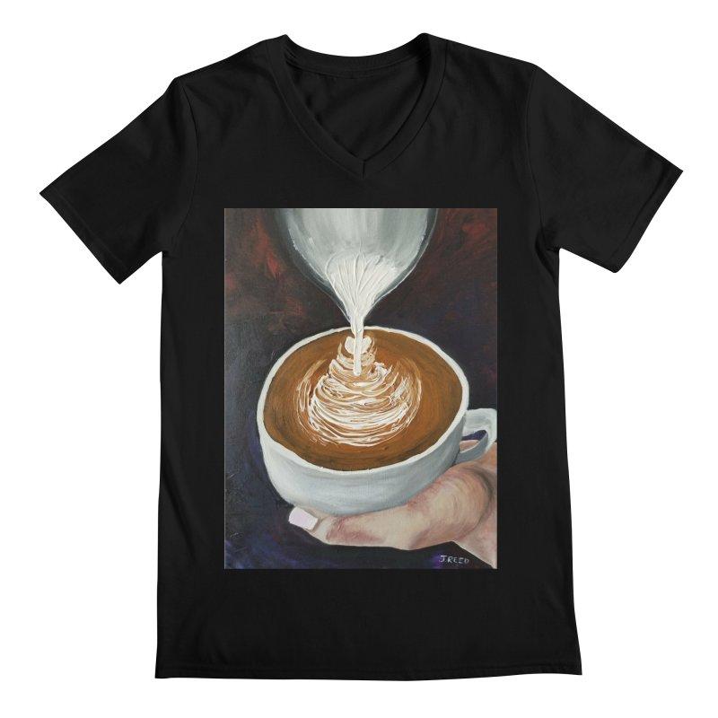 Latte Pour Men's Regular V-Neck by paintbytiger's Artist Shop
