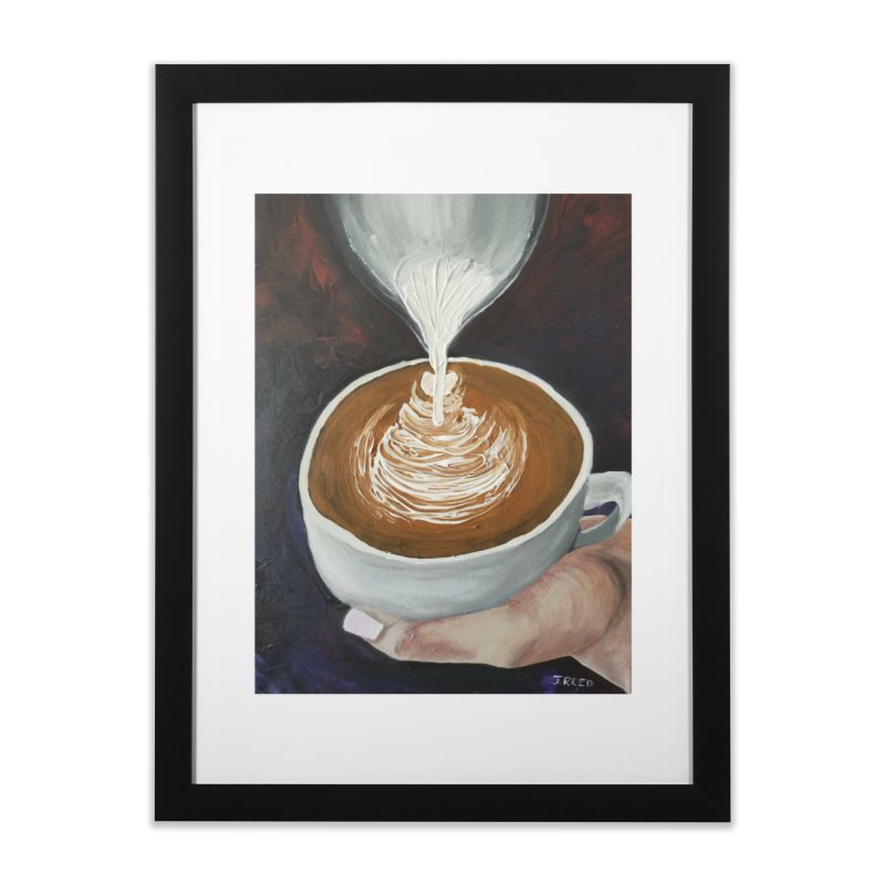 Latte Pour Home Framed Fine Art Print by paintbytiger's Artist Shop
