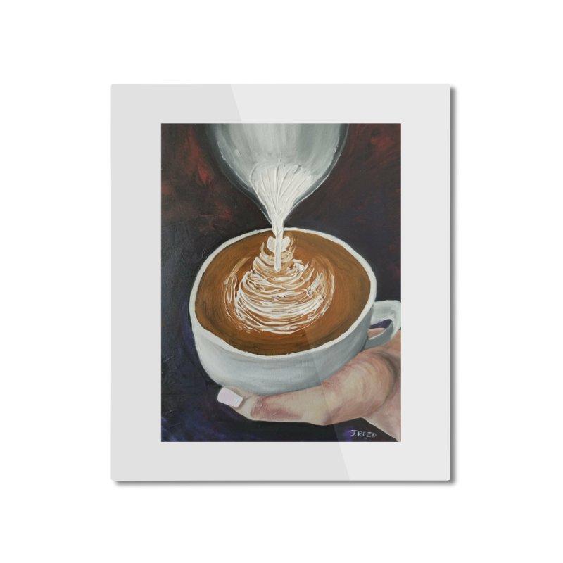 Latte Pour Home Mounted Aluminum Print by paintbytiger's Artist Shop
