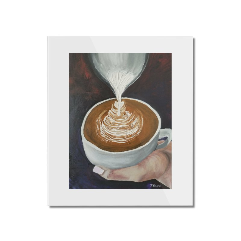 Latte Pour Home Mounted Acrylic Print by paintbytiger's Artist Shop