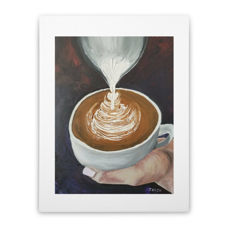 Latte Pour Home Stretched Canvas by paintbytiger's Artist Shop