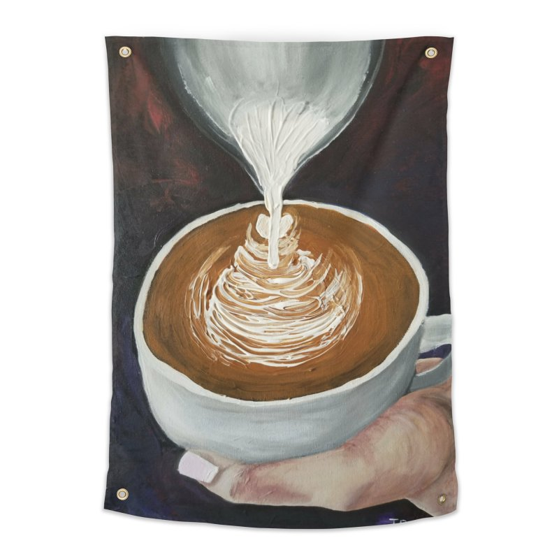 Latte Pour Home Tapestry by paintbytiger's Artist Shop