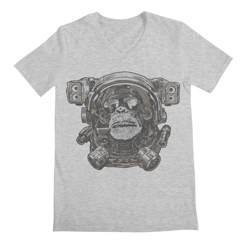 Astronaut Chimp Men's V-Neck by Pakai Baung