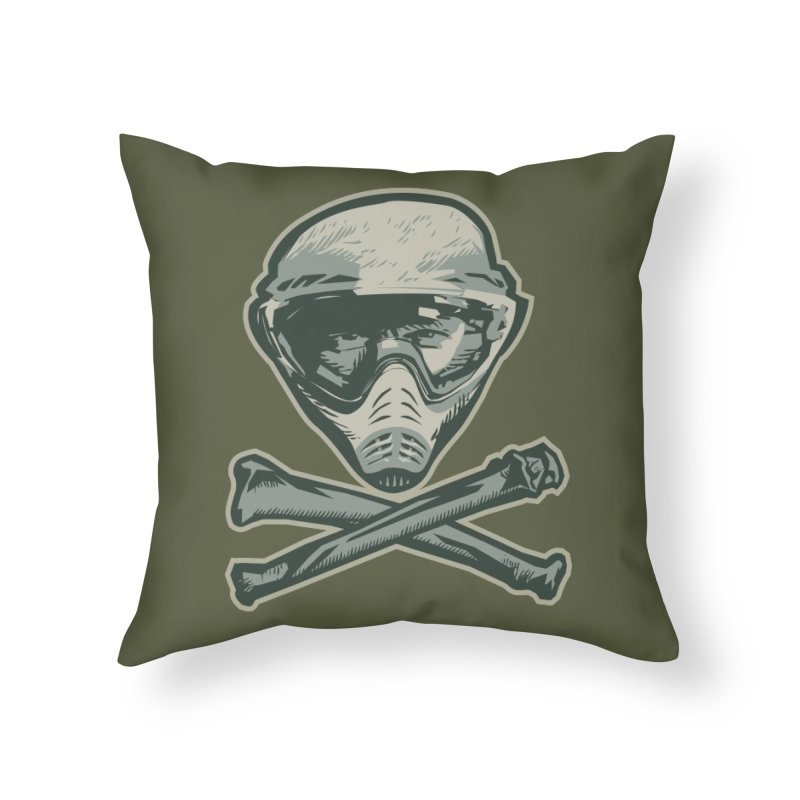Paintball Skull Home Throw Pillow by Pakai Baung