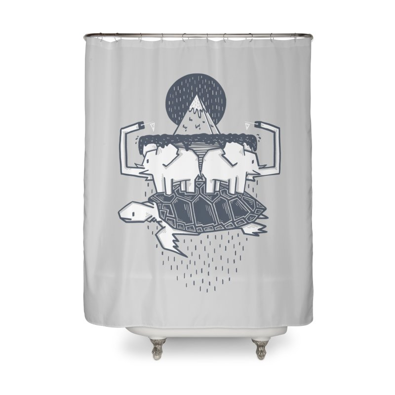 The Flat Earth Home Shower Curtain by Palitosci