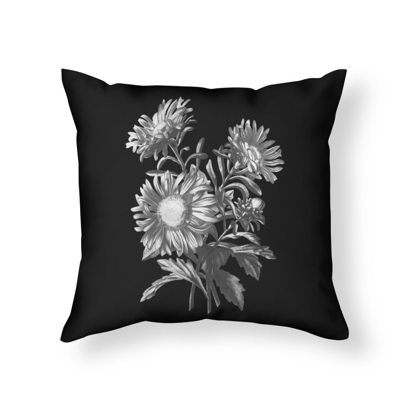 Vintage Black and white Flowers Painting Home Throw Pillow by Pall Kris T-Shirts Shop