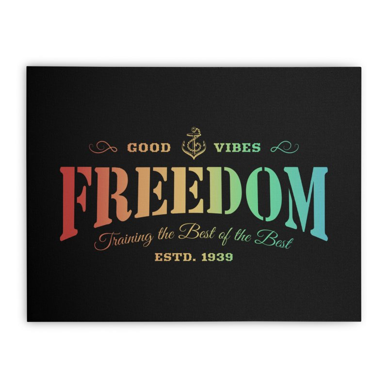 Freedom Text Rainbow Home Stretched Canvas by Pall Kris T-Shirts Shop