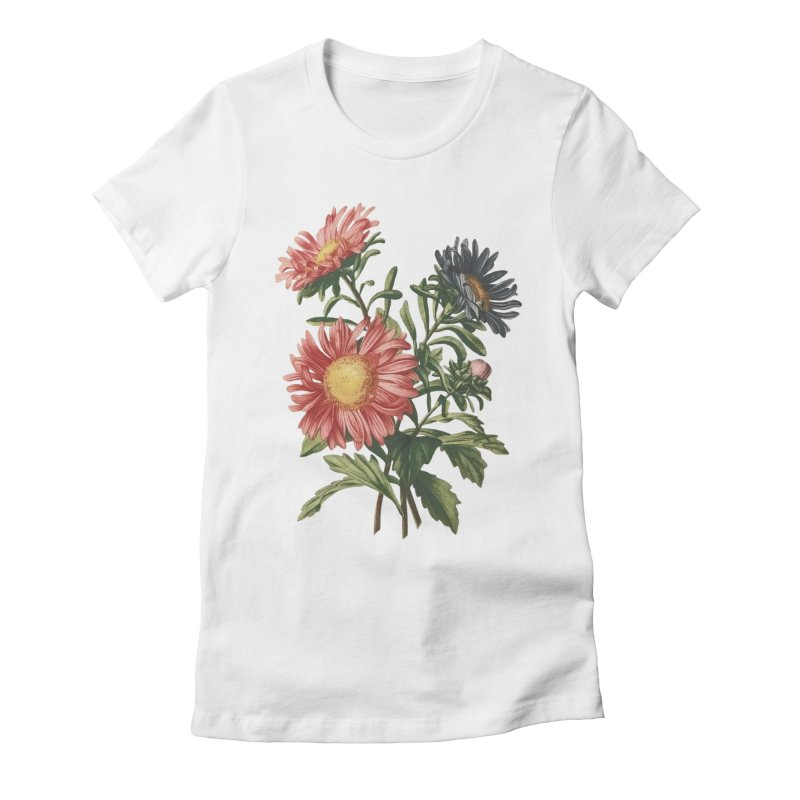 Artsy flowers in Women's Fitted T-Shirt White by Pall Kris Artist Shop