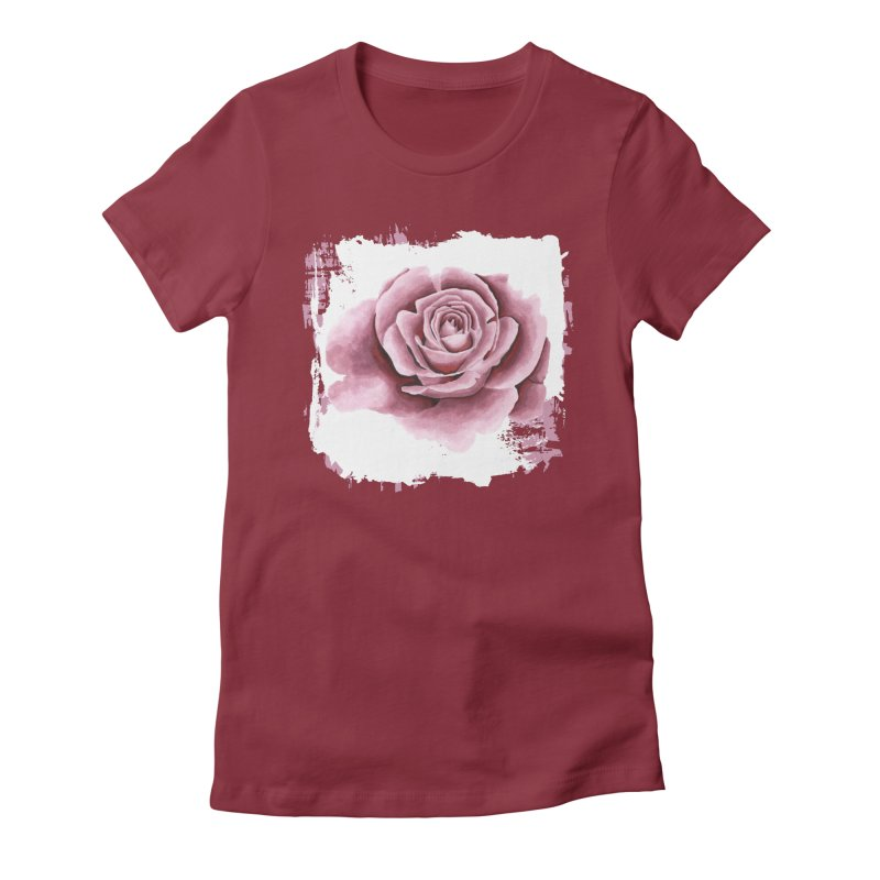 Sweet Pink Flower in Women's Fitted T-Shirt Scarlet Red by Pall Kris Artist Shop