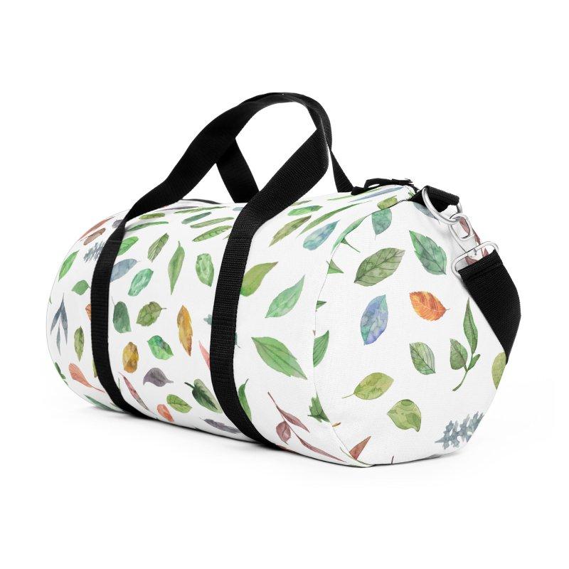 Watercolor Leaves in Duffel Bag by Pall Kris Artist Shop