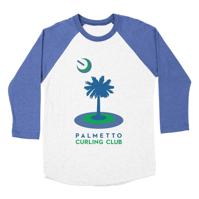 Baseball Shirts in Men's Baseball Triblend Longsleeve T-Shirt Tri-Blue Sleeves by Palmetto Curling Club Swag