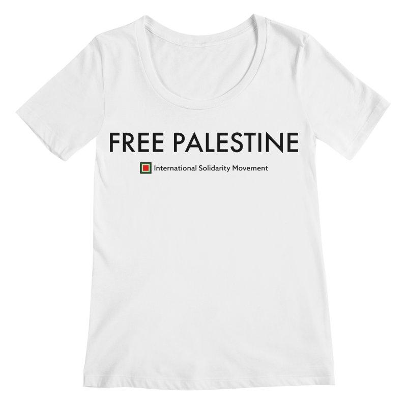 FREE PALESTINE - Black Women's Scoopneck by International Solidarity Movement
