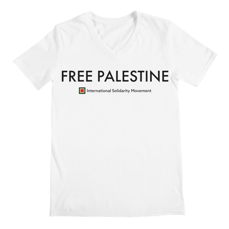 FREE PALESTINE - Black Men's Regular V-Neck by International Solidarity Movement