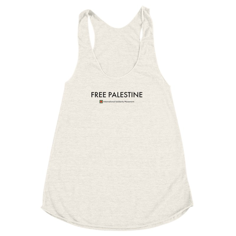 FREE PALESTINE - Black Women's Racerback Triblend Tank by International Solidarity Movement