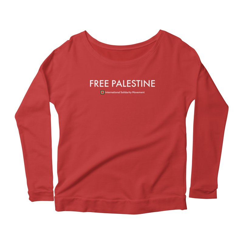 FREE PALESTINE - White Women's Longsleeve Scoopneck  by International Solidarity Movement