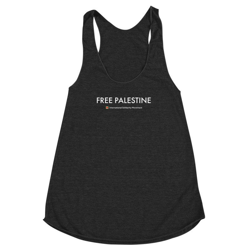 FREE PALESTINE - White Women's Racerback Triblend Tank by International Solidarity Movement