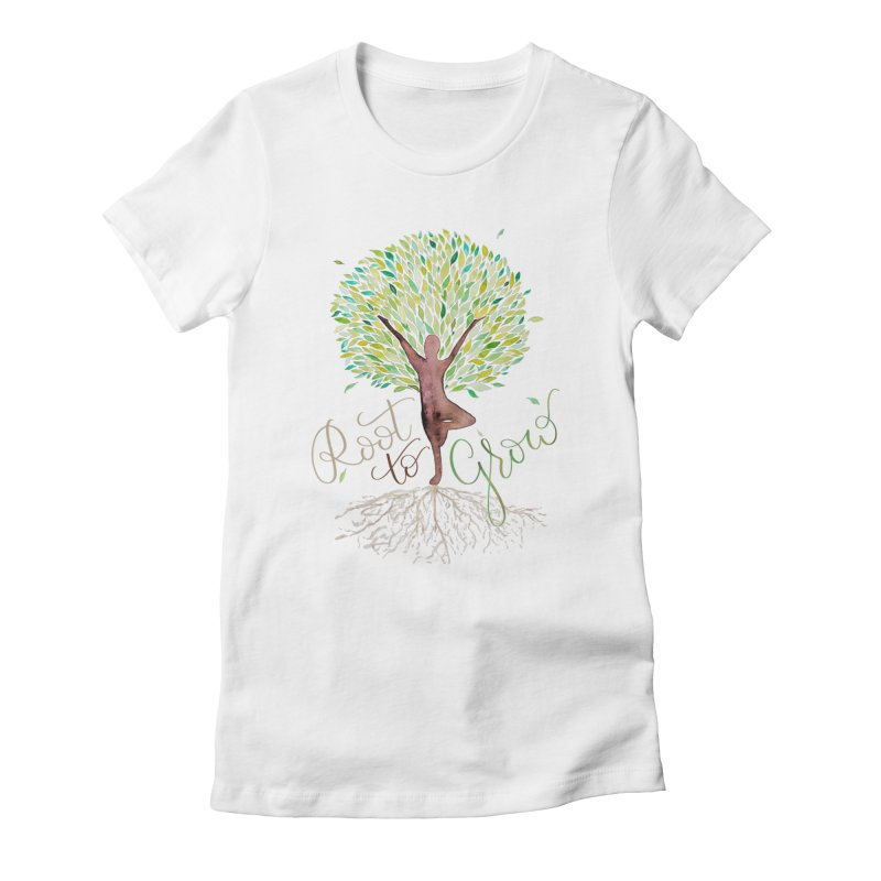Root to Grow Women's Fitted T-Shirt by Panda Grove Studio's Artist Shop