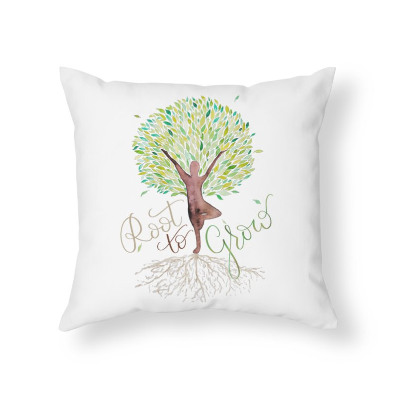 Root to Grow Home Throw Pillow by Panda Grove Studio's Artist Shop