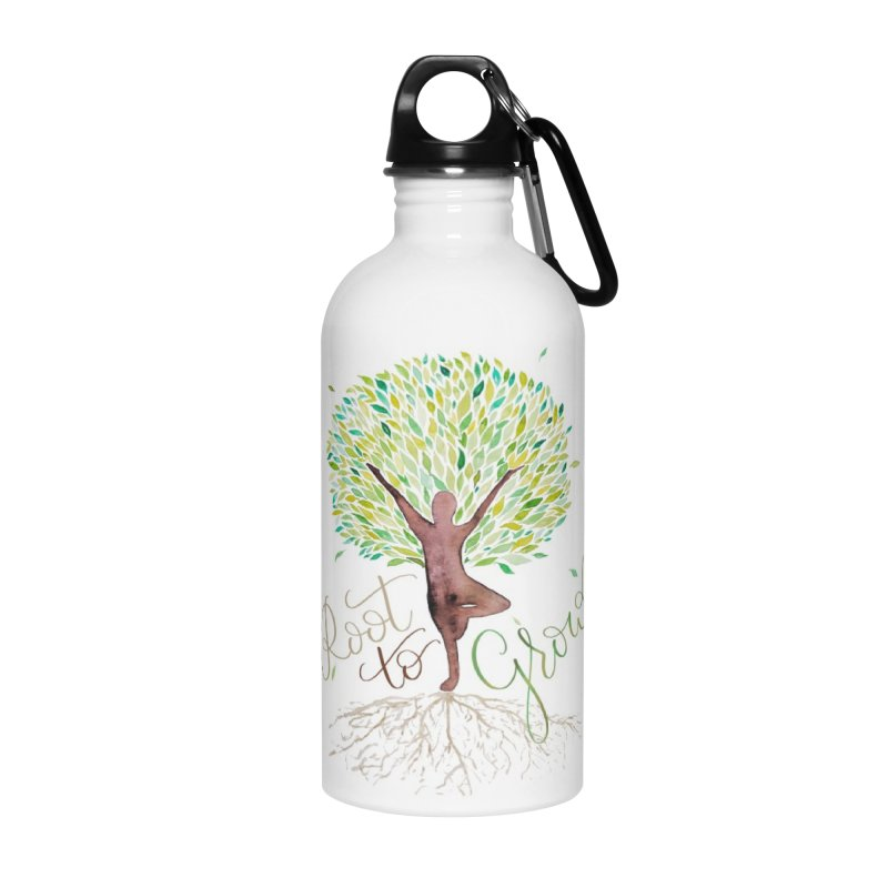 Root to Grow Accessories Water Bottle by Panda Grove Studio's Artist Shop