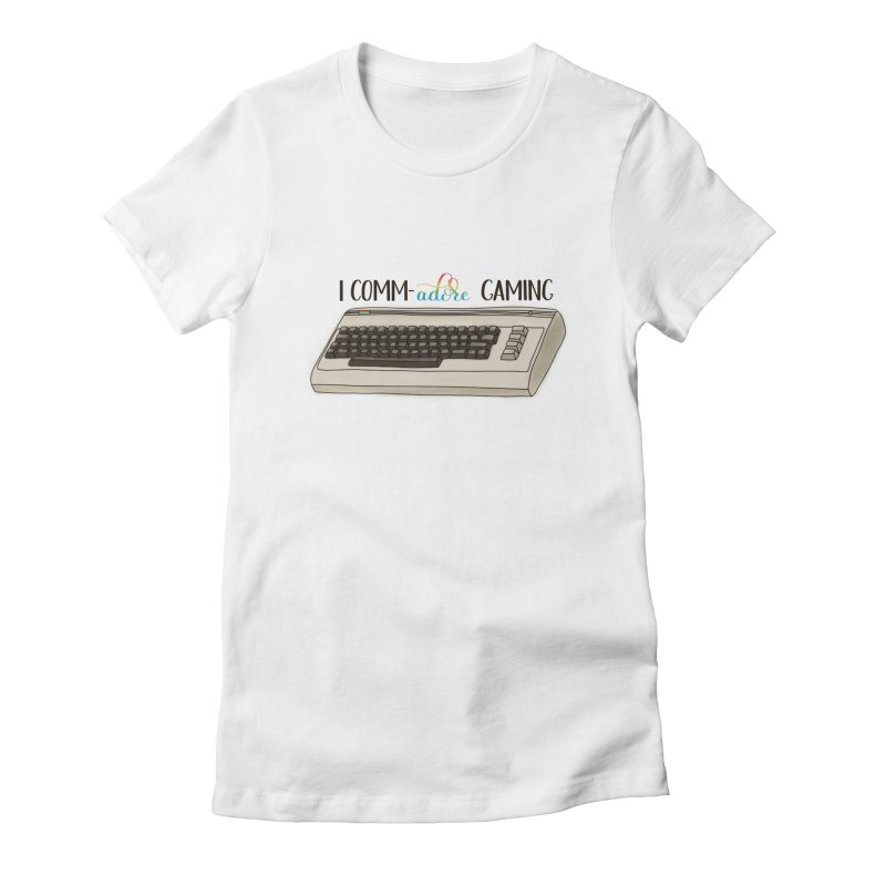 Comm-adore Gaming Women's Fitted T-Shirt by Panda Grove Studio's Artist Shop