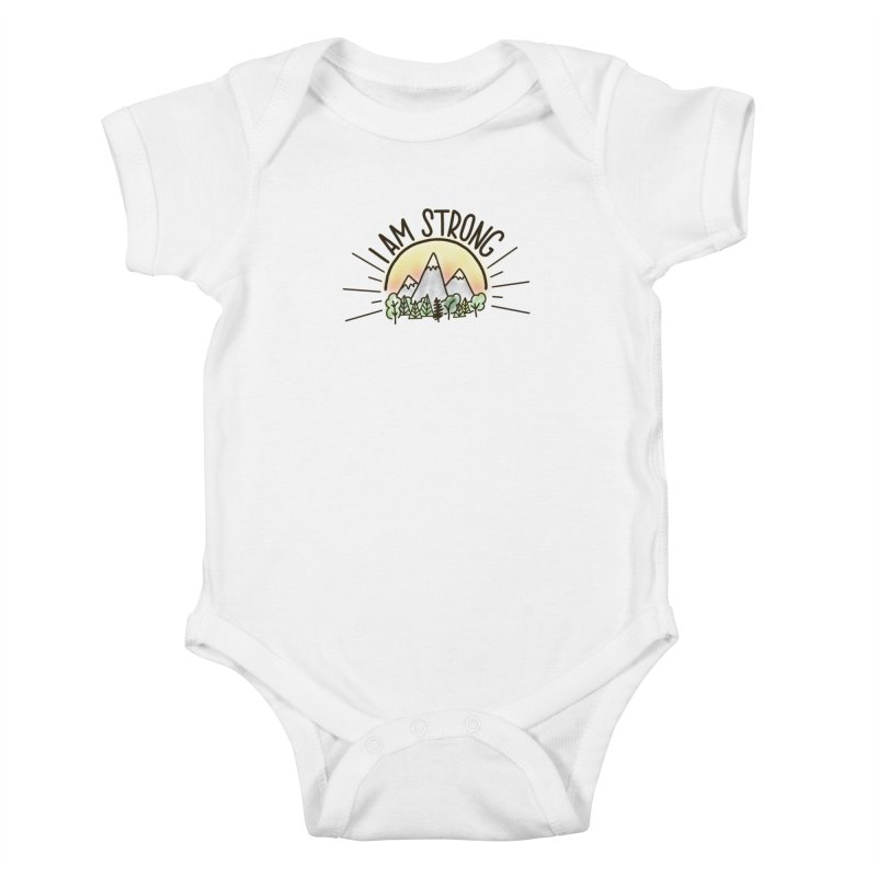 I am Strong Kids Baby Bodysuit by Panda Grove Studio's Artist Shop