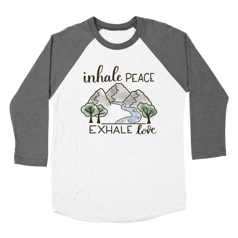 Inhale Peace Exhale Love Men's Baseball Triblend Longsleeve T-Shirt by Panda Grove Studio's Artist Shop